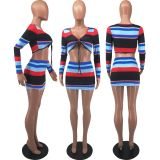 Sexy Striped Long Sleeve Mini Skirt 2 Piece Sets FOSF-8073