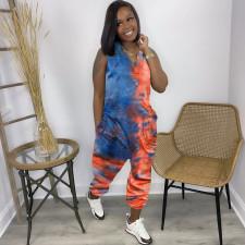 Plus Size Tie Dye Sleeveless V Neck Loose Jumpsuit AMLF-2147