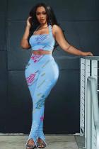 Letter Print Crop Top Split Pants 2 Piece Suits YMEF-5008