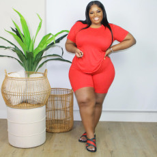 Plus Size Solid T Shirt And Shorts 2 Piece Sets FNN-8604