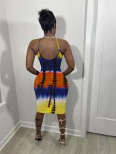 Plus Size Tie Dye Print Spahetti Strap Dress OM-1216