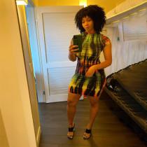 Tie Dye Print Short Sleeve Mini Dress WLDF-8015