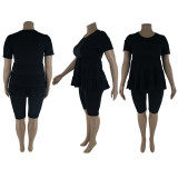 Plus Size Fat MM Solid Short Sleeve Two Piece Sets LP-6286