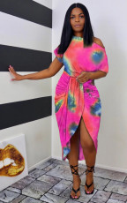 Plus Size Tie Dye Irregular Midi Dress WAF-7166