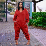 Plus Size Solid V Neck Long Sleeve Jumpsuits ARM-8278