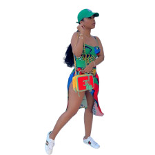 Sexy Printed Bodysuit Swimsuit+Beach Skirt 2 Piece Sets CQF-S961