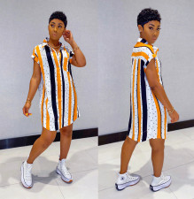 Plus Size Striped Short Sleeve Shirt Dress LS-0347