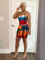 Tie Dye Print Sleeveless Strap Mini Dress SXF-2115
