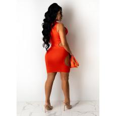 Plus Size Solid Sleeveless Hollow Club Dress YIY-5285