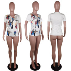 Casual Printed Short Sleeve O Neck T Shirt AWF-5874