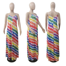 Colorful Printed Spaghetti Strap Maxi Dress ABF-6675