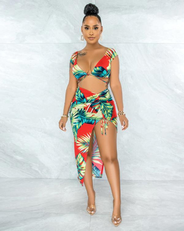 Floral Print V Neck Crop Top Split Skirt 2 Piece Sets APLF-5045