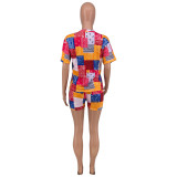 Plus Size Colorful Printed Short Sleeve 2 Piece Suits CYAO-8099