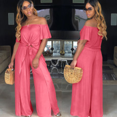 Solid Slash Neck Crop Top Split Wide Leg Pants Set DAI-8034