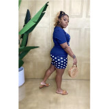 Plus Size Casual Printed Skinny Shorts AWF-5873