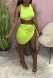 Sexy Solid Sleeveless Mini Skirt Two Piece Sets AWN-5213