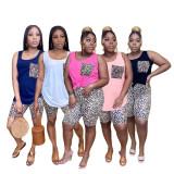 Plus Size Leopard Sleeveless 2 Piece Shorts Set AWF-5872