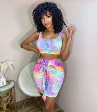 Sexy Printed Tank Top Mini Skirt 2 Piece Sets ANNF-6070