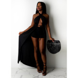 Solid Backless Long Cloak+Shorts 2 Piece Sets CYAO-001