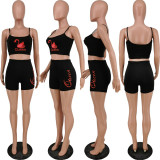 Queen Letter Print Cami Top And Shorts 2 Piece Sets ANNF-6050