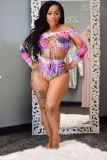 Plus Size Printed Lace Up Long Sleeve Bikinis 2 Piece Sets LP-6290