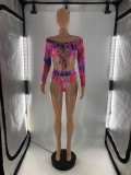 Plus Size Printed Lace Up Long Sleeve Bikinis 2 Piece Sets LP-6290