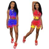 Casual Printed Sleeveless Two Piece Short Sets AWYF-L734