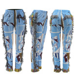 Casual Printed Tassel Straight Pants MIF-9055