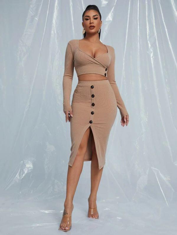 Sexy Long Sleeve Top Midi Skirt 2 Piece Sets YNSF-1626