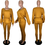 Solid Long Sleeve Two Piece Pant Sets YNSF-1625