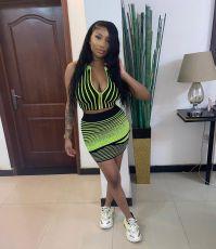 Sexy Striped Sleeveless Crop Top Mini Skirt Sets YNSF-1642