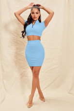 Solid Ribbed Short Sleeve Mini Skirt 2 Piece Sets YNSF-1643
