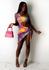 Sexy Tie Dye One Shoulder Hollow Mini Club Dress YIDF-1324