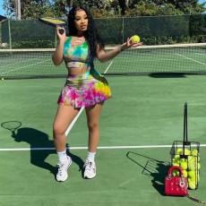 Tie Dye Tank Top+Culottes Skirt 2 Piece Sets YFS-3708