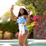 Sexy Printed One Shoulder Sashes One Piece Swimsuit NSFF-6021