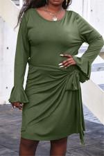 Solid Long Sleeve Knee Length Dress YNSF-1608