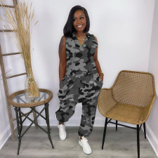 Fashion Casual Plus Size Sleeveless Camouflage Print Jumpsuits MTY-6525