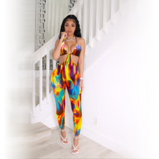 Sexy Tie Dye Print Hollow Out Jumpsuit QZX-6209