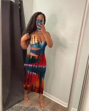 Sexy Fashion Hollow Tie-dye Print Dress MN-9304