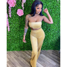 Fashion Solid Color Tube Top And Pants Two Piece Sets AWF-5871