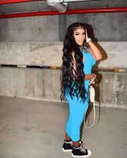 Fashion Casual Solid Color Sleeveless Dress NYF-8062