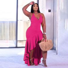 Fashion Plus Size Solid Color Ruffle Long Dress YUHF-8071