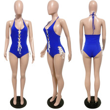 Sexy Halter Lace Up One Piece Swimsuit HMS-5470