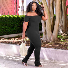 Casual Plus Size Off Shoulder Solid Color Jumpsuits YUHF-8079
