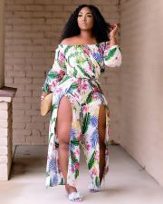 Fashion Beach-style Print Slit Jumpsuits BDF-8075