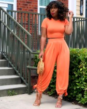 Solid Color Plus Size Casual Short Sleeve And Pants Two Piece Sets BLX-8214