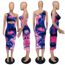Plus Size Printed One Shoulder Sleeveless Midi Dress YHDF-6016