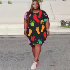 Plus Size Casual Loose Short Sleeve Printed Dress YHDF-6017