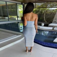 Sexy Striped Bodycon Hollow Midi Tube Dress YBSF-6692
