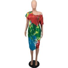 Casual Printed Short Sleeve Loose Midi Dress YHDF-6024